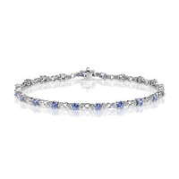 9K White Gold Diamond and Tanzanite Claw Set Link Bracelet