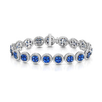 Diamond Halo and Sapphire Bracelet in 18K White Gold Bracelet J3357W