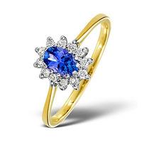 Tanzanite 6 x 4mm And Diamond 18K Gold Ring