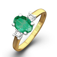 Emerald 0.75ct And Diamond 18K Gold Ring