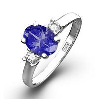 Tanzanite 7 x 5mm And Diamond 18K White Gold Ring