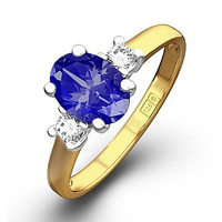 Tanzanite 7 x 5mm And Diamond 18K Gold Ring