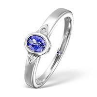 Tanzanite 0.34CT And Diamond 9K White Gold Ring