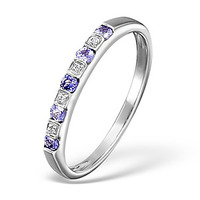 Tanzanite 0.18CT And Diamond 9K White Gold Ring