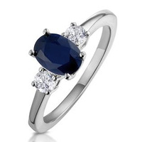 Sapphire Ring 1.00ct and Diamond 18K White Gold Ring