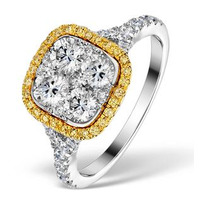 Halo Engagement Ring Angelina 1.50ct Yellow Diamonds 18K White Gold