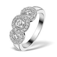 Halo Pave Ring - Celeste - 0.92ct of H/Si Diamonds in 18K White Gold