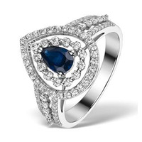 Sapphire Ring with a Diamond Halo 0.78ct in 18K White Gold N4524