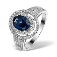 Sapphire Ring with a Diamond Halo 1.30ct in 18K White Gold N4525
