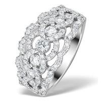 Diamond Art Deco 18K White Gold Ring 1.25CT H/Si - N4544Y