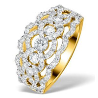 Diamond Art Deco 18K Gold Ring 1.25CT H/Si - N4544