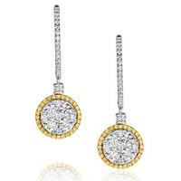 18K White Gold Alessia 2.50ct Diamond and Yellow Diamond Halo Earrings