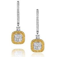 18K White Gold Lucia 1.90ct Diamond and Yellow Diamond Halo Earrings