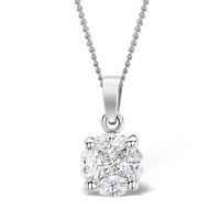 Galileo 1.00ct Look Diamond 0.41ct And Platinum Pendant