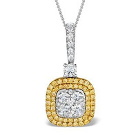 18K White Gold LUCIA 0.82ct Diamond and Yellow Diamond HALO Pendant