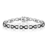 0.40ct Black Diamond and Diamond Silver Infinity Bracelet