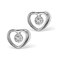 Diamond Heart Earrings in Sterling Silver - Ug3231