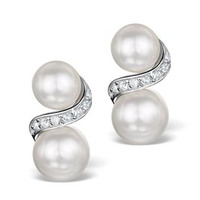 Pearl and White Topaz Twist Earrings in Sterling Silver - UG3243