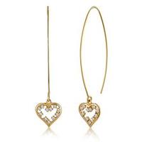 White Topaz Heart Earrings in Gold Vermeil - Tesoro Collection