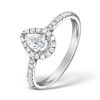 Halo Engagement Ring Ella 0.81ct VS Pear Shape Diamond 18K White Gold
