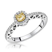 Adrianna Yellow Diamond Halo Engagement Ring 0.46ct in 18K White Gold