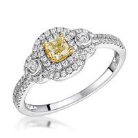 Pia Yellow Diamond Double Halo Engagement Ring 0.59ct 18K White Gold