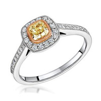 Leila Yellow Diamond Halo Milgrain Engagement Ring 0.88ct Platinum