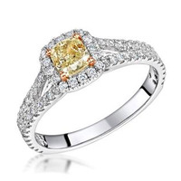 Victoria Yellow Diamond Halo Engagement Ring 1.00ct in Platinum