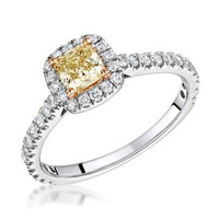 Katarin Yellow Diamond Halo Engagement Ring 1.08ct Platinum