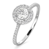 Halo Engagement Ring Ella 0.86ct Diamonds H/SI2 in 18K White Gold