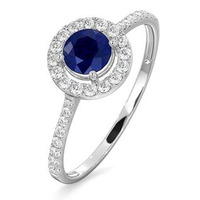 Halo Sapphire 0.75ct And Diamond 0.36ct 18K White Gold Ring