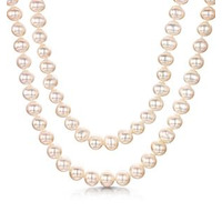Double Row 6mm Freshwater Pearl Amelie Necklace 925 Silver Clasp