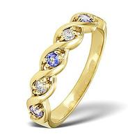 Tanzanite 2.25 x 2.25mm And Diamond 18K White Gold Ring
