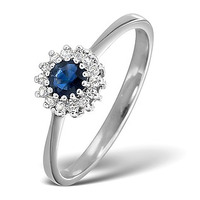 Sapphire 3.5 x 3.5mm And Diamond 9K White Gold Ring