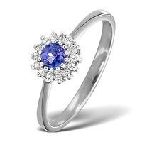 Tanzanite 3.5 x 3.5mm And Diamond 9K White Gold Ring