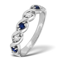 Sapphire 2.25 x 2.25mm And Diamond 9K White Gold Ring