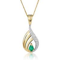 Emerald 4 x 3mm And Diamond 9K Yellow Gold Pendant