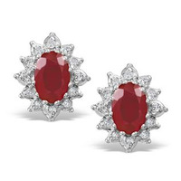 Ruby 6 x 4mm And Diamond 18K Yellow Gold Earrings