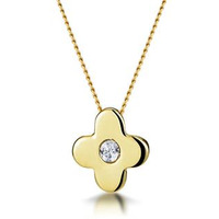 Diamond Flower Slider Necklace with Centre Stone in 9K Gold