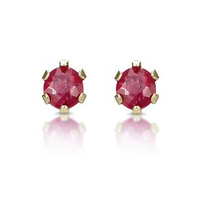 Ruby 3 x 3mm 9K Yellow Gold Earrings