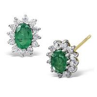Emerald 6 x 4mm And Diamond 9K Yellow Gold Earrings