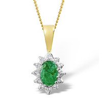 Emerald 6 x 4mm And Diamond 18K Yellow Gold Pendant