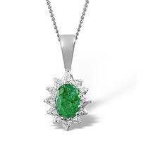 Emerald 0.52CT And Diamond 9K White Gold Pendant