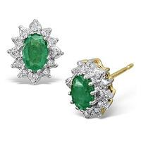 Emerald 6 x 4mm And Diamond 18K Yellow Gold Earrings
