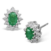 Emerald 6 x 4mm And Diamond 9K White Gold Earrings
