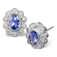 Tanzanite 6 x 4mm And Diamond 18K White Gold Earrings