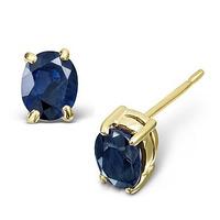 Sapphire 5mm x 4mm 18K Yellow Gold Earrings