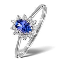 Tanzanite 6 x 4mm And Diamond 18K White Gold Ring