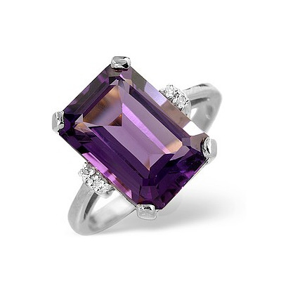 Amethyst 5.90ct And Diamond 18K White Gold Ring