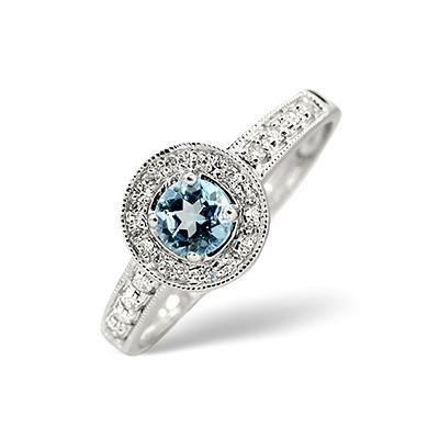 Blue Topaz 0.35CT And Diamond 9K White Gold Ring